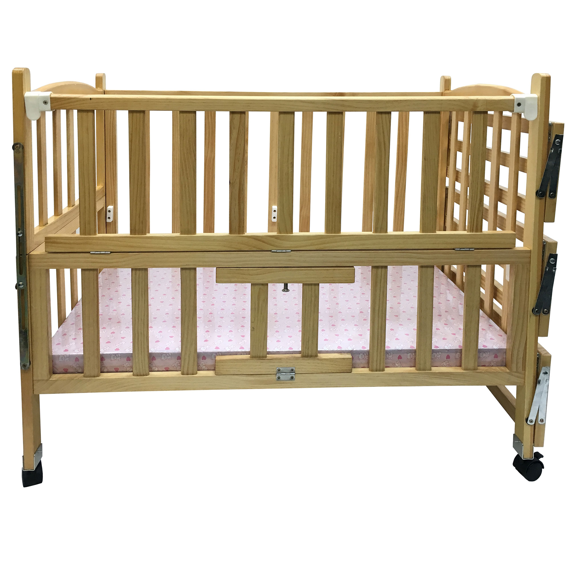 Solid hard wood baby bed child classic wooden baby cot for Baby cot decoration